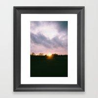Car At Sunset In New For… Framed Art Print