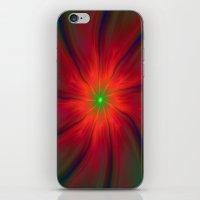 Green Eyed Swirl on Red iPhone & iPod Skin
