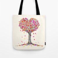 Love in the Fall - Heart Tree Illustration Tote Bag
