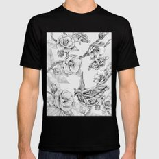 Moths & Camellias Mens Fitted Tee Black SMALL