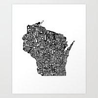 Typographic Wisconsin Art Print