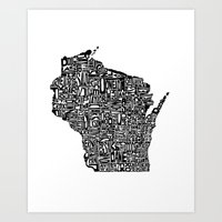 Typographic Wisconsin Art Print