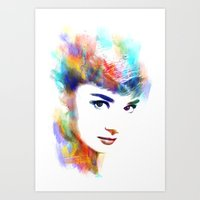 audrey hepburn Art Prints featuring Audrey Hepburn by Michael Akers