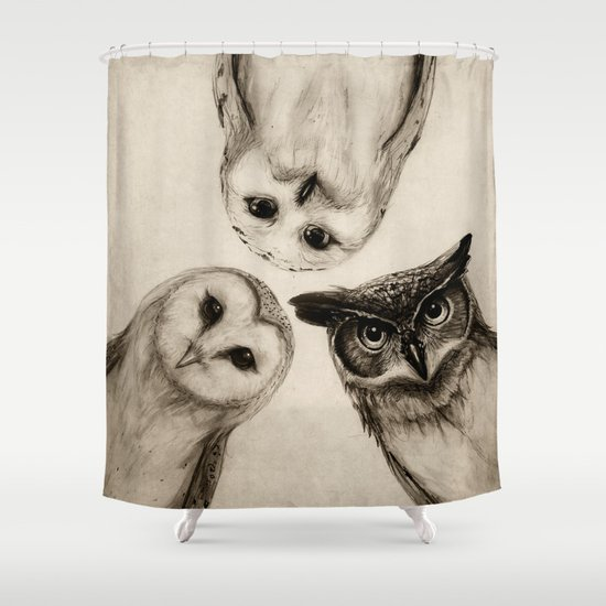 The Owl's 3 Shower Curtain By Isaiah K. Stephens