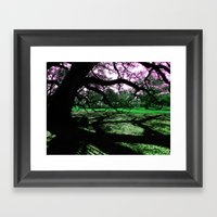 Green Oak Shadows Framed Art Print