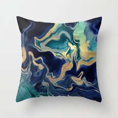 DRAMAQUEEN - GOLD INDIGO MARBLE Throw Pillow