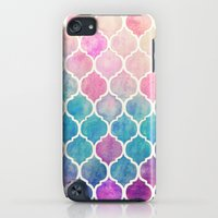 iPod Touch Cases featuring Rainbow Pastel Watercolor Moroccan Pattern by micklyn