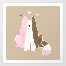 Neapolitan Ice Cream Cat Art Print