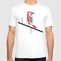 Woodpecker In Blue Mens Fitted Tee White SMALL