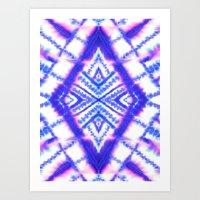 Dye Diamond Iridescent Blue Art Print