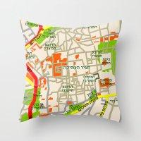 Jerusalem Map Design Throw Pillow