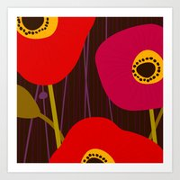 Red Poppy Flowers by Friztin Art Print