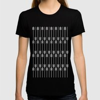 White Arrows On Mint Womens Fitted Tee Black SMALL