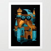 Owl Castle Art Print