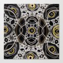 Fantasy lace abstract, white & yellow on black Canvas Print