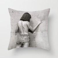Wall flower girl Throw Pillow