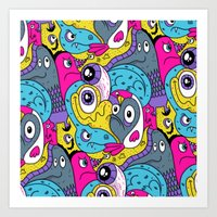 Idiot Bird Pattern Art Print
