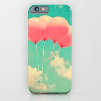 iPhone & iPod Case featuring Balloons in the sky (pink ballons in retro blue sky) by AC Photography
