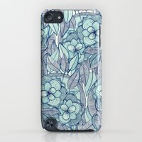 iPod Touch Cases featuring Teal Magnolias - a hand drawn pattern by micklyn