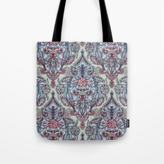 Botanical Moroccan Doodle Pattern in Navy Blue, Red & Grey Tote Bag