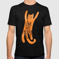 I love my freaking cat - orange Mens Fitted Tee Tri-Black SMALL