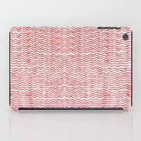 Red Wavy Chevrons iPad Case