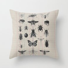 Vintage Insect Study on antique 1800's Ledger paper print Throw Pillow
