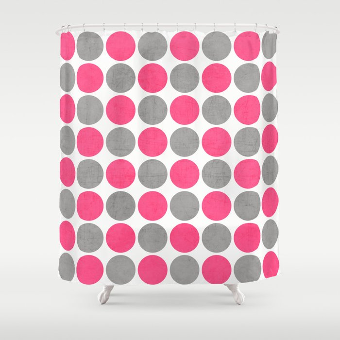 Hot Pink And Gray Dots Shower Curtain By Her Art Society6
