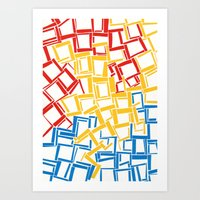 rectangles in primary colours Art Print