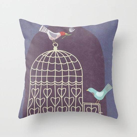 Leaving the Birdcage Throw Pillow