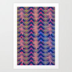 Chevron and  Geometric with pink Art Print