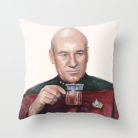 Tea. Earl Grey. Hot. Captain Picard Star Trek | Watercolor Throw Pillow