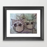 Owl couple Framed Art Print