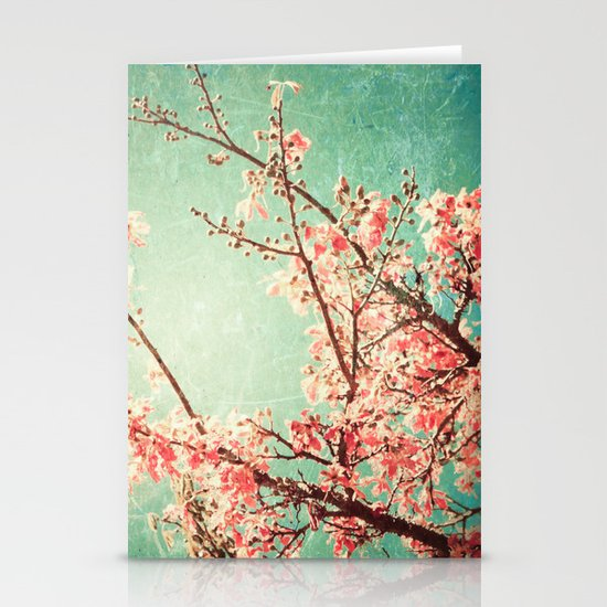 Pink Autumn Leafs on Blue Textured Sky (Vintage Nature Photography) Stationery Card