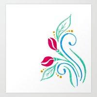 Abstract tulip motif Art Print