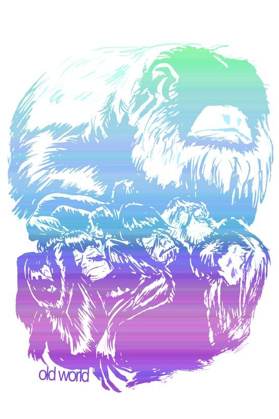 Monkeys in living Color Art Print