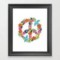 Flower Peace Sign Framed Art Print