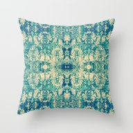 Vintage Blue Turquoise F… Throw Pillow