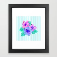Hibiscus and Stripes Framed Art Print