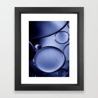 Oil On Water - Midnight Blue Framed Art Print