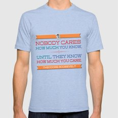 How Much You Care Mens Fitted Tee Tri-Blue SMALL