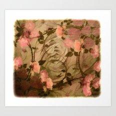 Vintage Pink Roses Abstr… Art Print