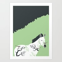 Zebra in the Woods Art Print