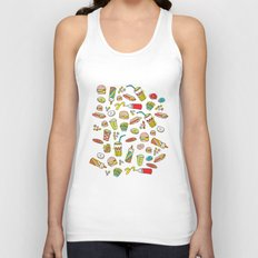 Awesome retro junk food icons Unisex Tank Top