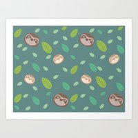 Sloth And Leaf Pattern Art Print