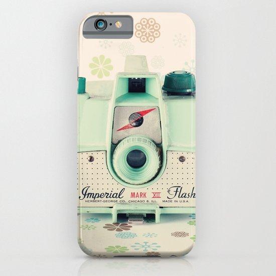 Mint Retro Film Camera on Beige - Cream Pattern Background  iPhone & iPod Case