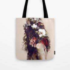 The girl with the flowers in her hair Tote Bag