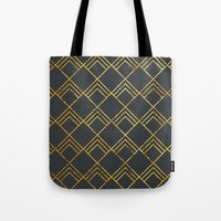 Diamond Art Deco; - Black & Gold  Tote Bag