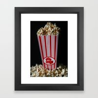 Movie Night and Popcorn Framed Art Print
