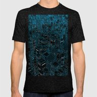 Night Light City / Linea… Mens Fitted Tee Tri-Black SMALL